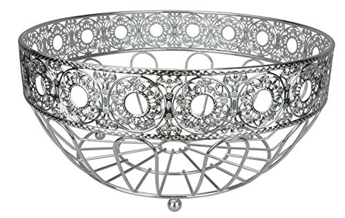 RosyLine Fruit Basket home Fruit Basket/Decorative Display Stand, Multi purpose bowl, Home accent furnishings (Chrome Finish)