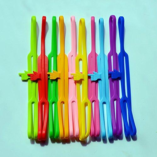 zuf/ällige Farbe elastisch QILEGN Finger-Lesezeichen B/ücherband Silikon Lesezeichen Gummi 5 St/ück