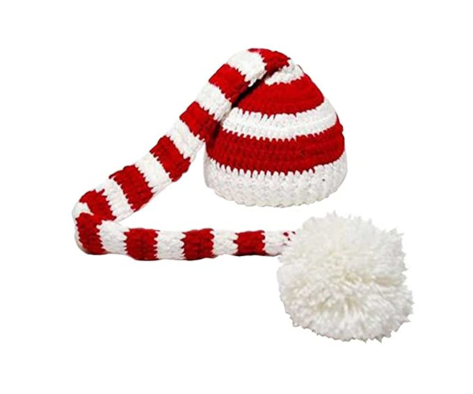 1878dea8cd7 Baby Christmas Crochet ELF Long Tail Pom-pom Photo Prop Hat Party Costume (A