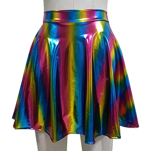 Pinda Summer Holographic Rainbow Rave High Waisted Flare Skater Skirt (XL, 369rainbow) - Rave Outfits Cheap
