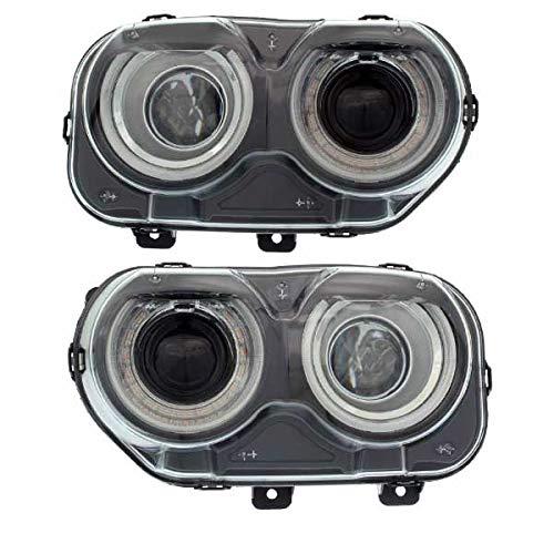(Partomotive For 15-19 Challenger Front Headlight Headlamp Halogen Head Lamp w/Bulbs Set Pair)