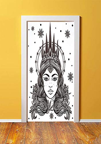 Snow Shiv (Queen 3D Door Sticker Wall Decals Mural Wallpaper,Beautiful Fantasy Snow Queen Hand Drawn Art Winter Spirituality Boho Mythical Decorative,DIY Art Home Decor Poster Decoration 30.3x78.5071,Black and W)