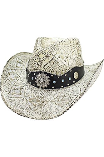 White Toyo Straw (White Antiqued Toyo Straw Cowboy Hat Size Medium )