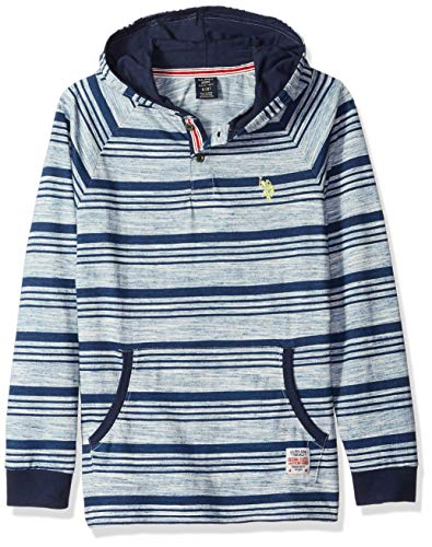 - U.S. Polo Assn. Boys' Toddler Long Sleeve Hooded T-Shirt, Raglan Popover Striped ice Blue, 2T
