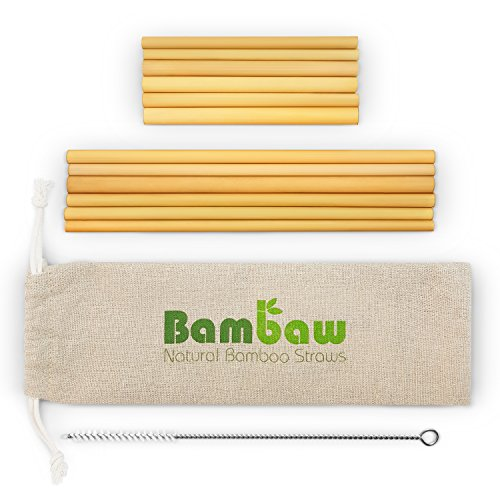 Reusable Bamboo Drinking Straws | BPA free | Ecological Alternative to Plastic straws | Strong & Durable Bamboo multi-usage straw | 12 Straws | 5.5 and 8.7 Inch | ()