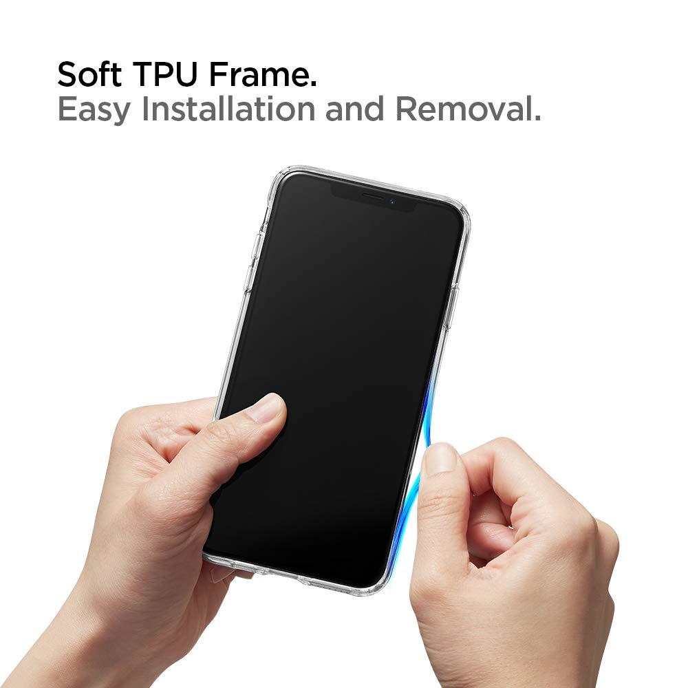 Geh/ärtetes Glas R/ückseite mit TPU Rahmen Transparent Handyh/ülle Schutzh/ülle Spigen 063CS25715 Quartz Hybrid Kompatibel mit iPhone X//XS H/ülle