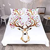 Sleepwish Boho Deer Head With Flowers Duvet Cover Set 3 Pcs Bohemian Floral Antler Bed Cover Ethnic bedding sets (Full)