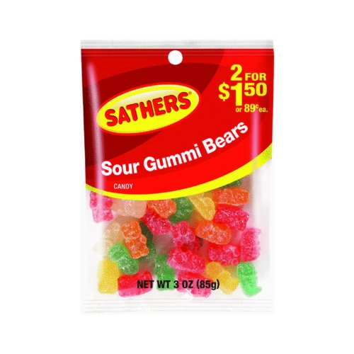 Sathers 2/$1.50 Sour Gummi Bears, 12 Count (SUGAR CANDY - PEG-BOARD ()