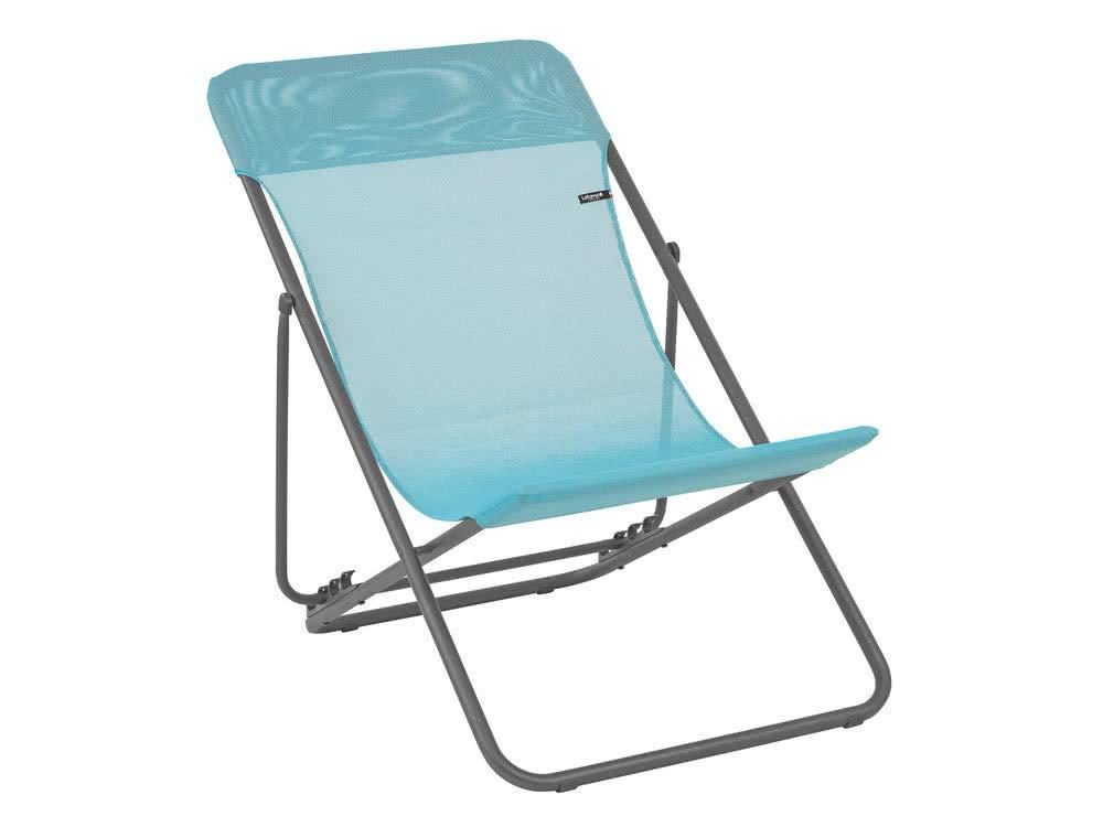 Lafuma LFM2502-8553 Maxi Transat Folding Sling Chair with Basalt Steel Frame and Batyline Fabric, ((Set of 2), Lac