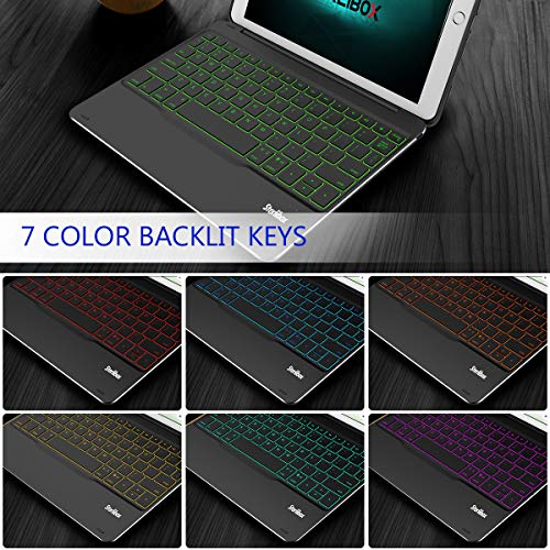 iPad Keyboard Case for The 2018 iPad (6th Gen), 2017 iPad (5th Gen), iPad Pro 9.7, iPad Air 1 - Auto Sleep/Wake - Detachable & Quiet - 7 Color Backlit - Wireless/Bluetooth - iPad Case with Keyboard by Sterlibox (Image #4)
