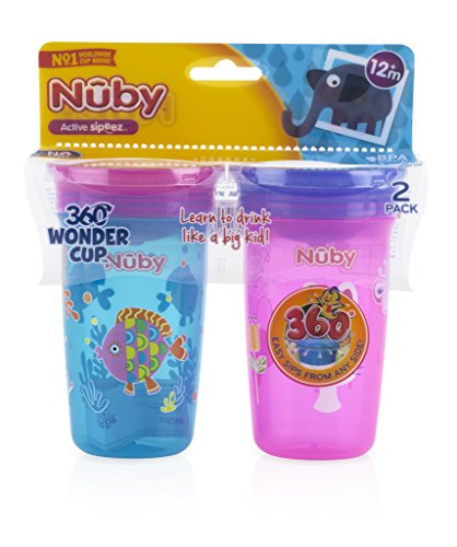 (Nuby 2pk No Spill 360 Degree Printed Wonder Cup - Colors May Vary )