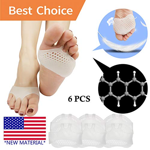 (Metatarsal Pads, Ball of Foot Cushion (6 PCS) *New Material* Forefoot Pads, Breathable & Soft Gel, Best for Diabetic Feet, Callus, Blisters, Forefoot Pain. (White) )