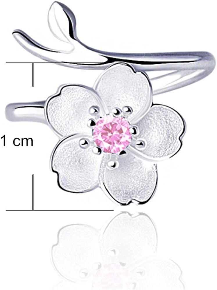 ISAACSONG.DESIGN Sterling Silver Flower Rings Women Couples Crystal Charm Simple Adjustable Rings for Teen Girls