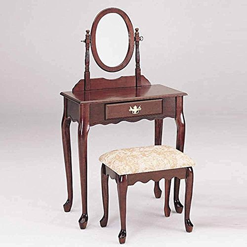 Simple Relax 1PerfectChoice Queen Ann 3pc Vanity Makeup Table Mirror Set 1 Drawer Carved Apron Cherry (Carved Apron)