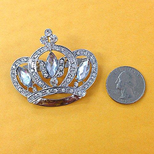 Set of 12 Large Rhinestone Crown Brooch 47mm X 55mm Use for Wedding Bouquet . Bridal Sash , Embellishment , Wedding Favor, Dress Appliqué ,