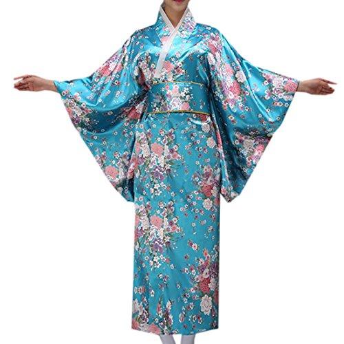Chinese Robe Costume (Partiss Women's Women's Japanese romantic cherry kimono Robe Cosplay Costume,Chinese M,Blue2)