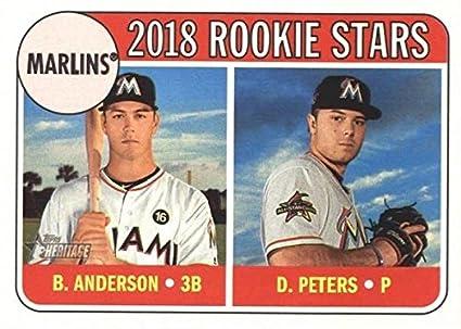 Dillon Peters Brian Anderson Baseball Card Miami Marlins 2018