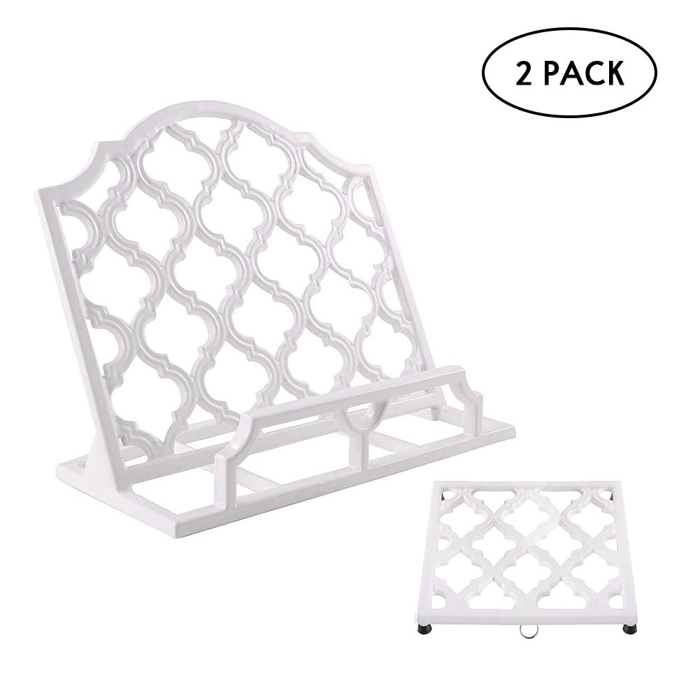 2 Piece Kitchen Table Accessory Set, Cast Iron Cookbook Stand Holder, and Trivet Mat Set, Decorative for Home and Kitchen Counter, White by JOGREFUL