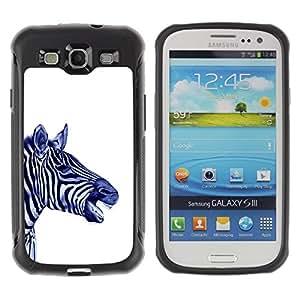LASTONE PHONE CASE / Suave Silicona Caso Carcasa de Caucho Funda para Samsung Galaxy S3 I9300 / Stripes Black White Blue Animal Africa