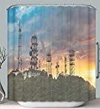 Trendy Household Shower Curtain Liner Anti-Mildew Antibacterial Silhouette Antenna towe with Sunset Background