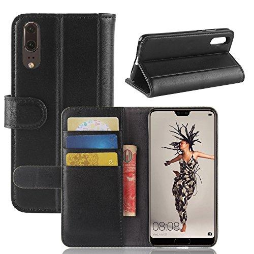 Huawei P20 Funda, Moonmini Ultra Delgada Libro Caso Flip Folio Funda de cuero PU Billetera Ranura de Tarjeta de Crédito Caja antirayas a prueba de choques del teléfono con Cierre Magnético y función d Negro