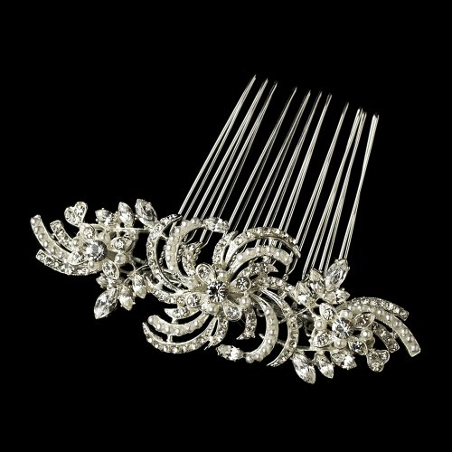 Elegant Ivory Pearl & Marquise Stone Flower Wedding Bridal Special Occasion Hair Comb