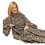 Snuggle-Up Blanket - Snuggie - Sleeve Blanket - Animal Print - Cover-Up - Blanket - Polar Fleece - Throw Blanket - Indoor - Outdoor - Camping - Travel - Auto - Practical - Light Weight - Great Present