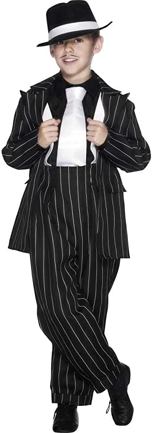 1940s Children's Clothing: Girls, Boys, Baby, Toddler 49 Black and White Zoot Suit Striped Tween Boy Costume $27.35 AT vintagedancer.com