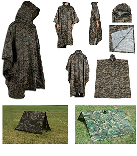 Waterproof Rip Stop Woodland Digital Military G.I. Style Poncho Tent (Digital Tent)