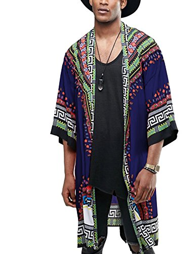 COOFANDY Mens Hipster Hip Hop 3/4 Sleeve African Dashiki Printed Ruffle Shawl Collar Cardigan Top with Belt, Navy Blue, XX-Large by COOFANDY