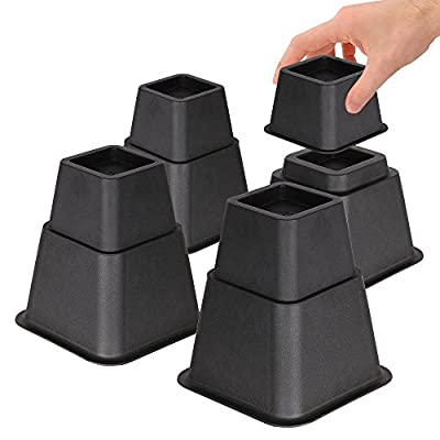 DuraCasa Adjustable Bed Risers or Furniture Riser in Heights of 8, 5 or 3 Inches Heavy Duty Set of 4