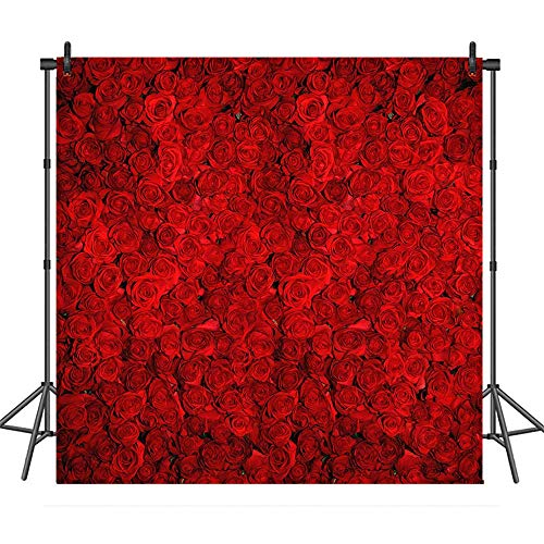 COMOPHOTO Red Rose Wedding Photo Background 8x8ft Vinyl Valentine's Day Floral Wall Birthday Party Banner Decoration Photography Backdrops - Photography Backgrounds Floral
