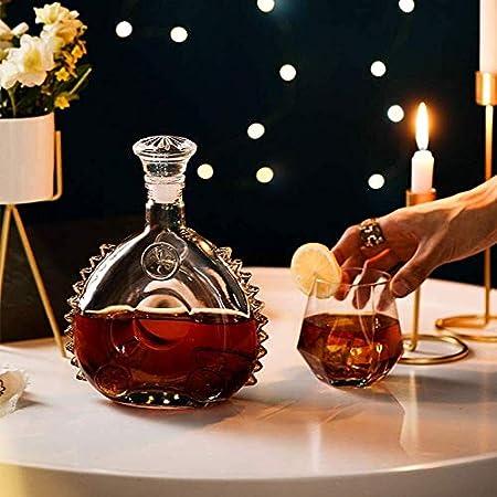 Decanter Louis XIII Botella de Vino vacía, Estilo de los años 20, coñac o Whisky, Botella de Vino de Vidrio sellada con Tapa, Escultura de Hielo de 750 ml