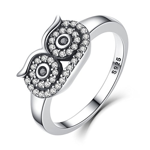 BAMOER Genuine 925 Sterling Silver Clear Crystal Owl Bird Ring for Women Fashion Cute Animal Ring