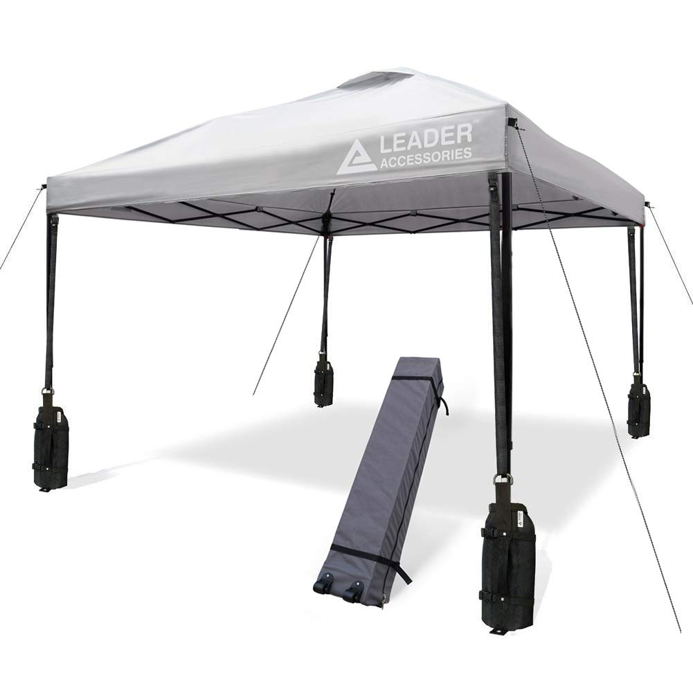 Leader Accessories 10' x 10' Instant Canopy with 4-Pack Canopy Weights & One Wheeled Carry Bag (1Silver)