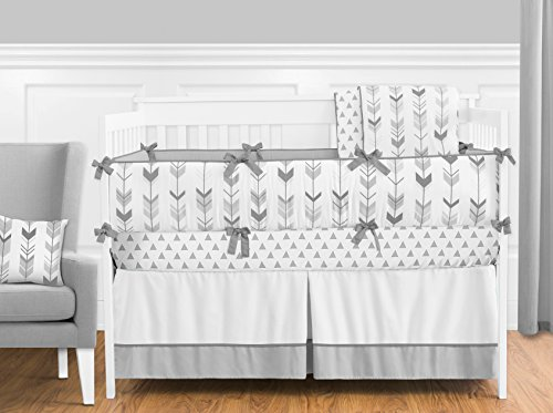 Sweet Jojo Designs 9-Piece Grey and White Woodland Arrow Boy, Girl, Unisex Baby Crib Bedding Set with Bumper s (Neutral Baby Bedding Crib Sets)