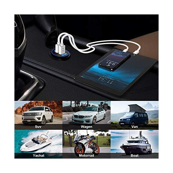 51Um%2BTAvaYL QC3.0 Auto USB Steckdose, SONRU 12V/24V KFZ Ladegerät 36W USB Quick Charge, LED Voltmeter/Schalter/Zigarettenanzünder…