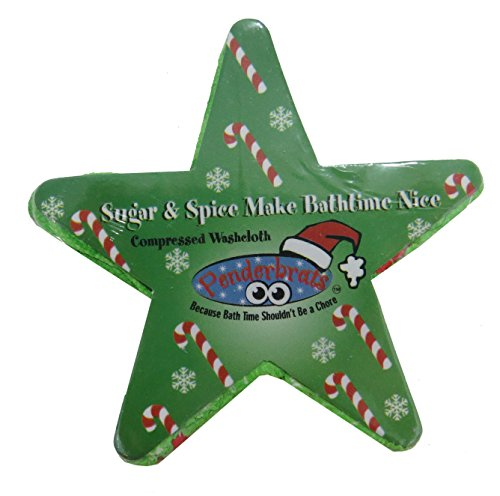 Holiday Christmas Compressed Wash Cloth (Green/Candy Cane) (Washcloth Holiday)