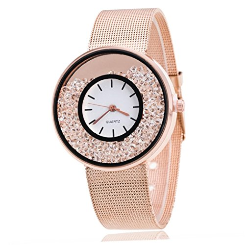 Couple Wrist Watches! Napoo Quartz Analog Wrist Delicate Alloy Watch Quicksand Artificial Diamond Luxury Business Watches (Rose Glod)