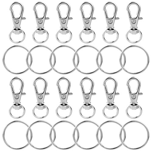 100 pcs Metal Swivel Lanyards Snap Hooks, cnomg Lobster Clasps Keychain Rings with Key Rings for Jewelry Findings - Double Swivel Hook