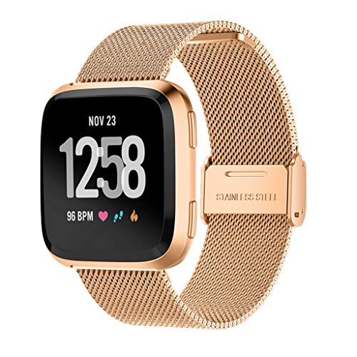 (Juner Band Compatible With Fitbit Versa Lite Watch Band,Tempered Film+Milanese Stainless Steel Strap Replacement Bands Compatible with Fitbit Versa Lite (Rose Gold))