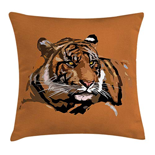 WCMBY Safari Throw Pillow Cushion Cover, Exotic Tiger with Retro Colors Hunter African Wild Nature Icon Print Illustration, Decorative Square Accent Pillow Case, 18 X 18 inches, Brown Orange (Hunter Settee)