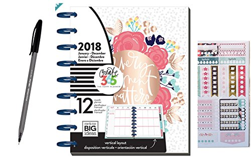 3 Pcs Bundle: Me & My Big Ideas 2018 Classic Happy Planner, 12 Month Happy Planner bundled with Recollections Sticker + Paper Mate Inkjoy Ballpoint Pen, Every Moment Matters