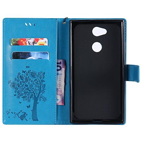 Sony Xperia XA2 Flip Cuero Funda - Alta Calidad Cuero de la PU /Stent/Billetera/Paquete de Tarjetas/Proteccion Caso Cubrir para Sony Xperia XA2(Rosa) Azúl