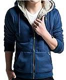 Fulok Men's Hoodie Casual Faux Fur Outwear Sweatshirt Blue M
