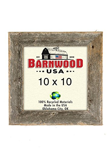 BarnwoodUSA Rustic 10x10 Inch Wooden Picture Frame with 1 5/8 Inch Wide Molding - 100% Reclaimed Wood, Weathered - 10 Frame X Photo 10