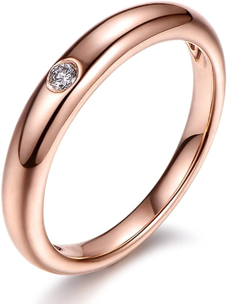 Size-12 Diamond Wedding Band in 10K Pink Gold G-H,I2-I3 1//20 cttw,