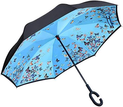 Owen Kyne Windproof Double Layer Folding Inverted Umbrella Self Stand UpsideDown Rain Protection Car