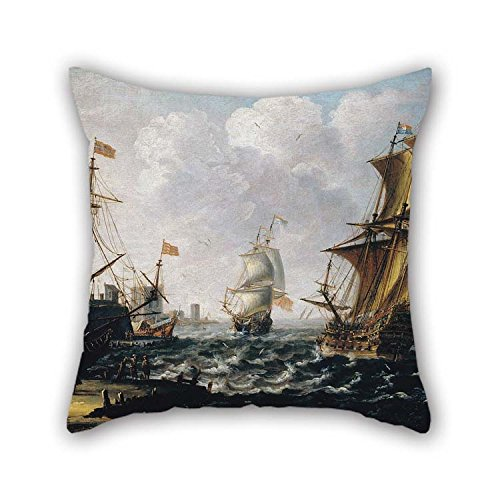 TonyLegner Pillow Cases of Oil Painting A Castro, Lorenzo - Dutch Levanters in A Rough Sea for Home Theater Dining Room Bar Birthday Gf Boys 18 X 18 Inches / 45 by 45 cm(Twin Sides) -