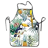 stylish&home Watercolor Tropical Birds and Plants Waterproof BBQ Apron